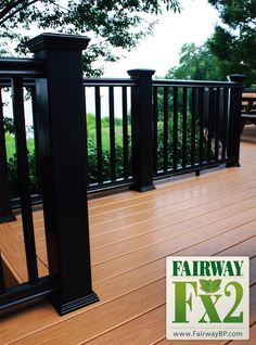 Fairway Fx2 Composite Railing      Substrate Engineered with Fibrex® Material Composite Railing    Fibrex® is a trademark of Andersen Corporation.  Fairway Building Products, LP uses the FIBREX® trademark under license from Andersen Corporation, Bayport, Minnesota, U.S.A. • Fairway Railing • Porch and Deck Railing  Vinyl • Composite • Aluminum  Railing Systems • Specialty Railing Systems Railing Accessories • POST Sleeves & Wraps  Fencing • PORCH Posts & Columns