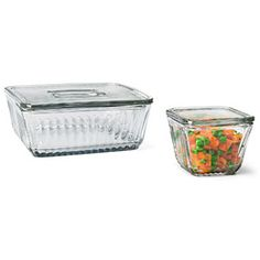 Stacking glass refrigerator boxes. Made in the US by Anchor Hocking.  (3 Qt) $15