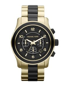 Black+and+Golden+Stainless+Steel+Runway+Chronograph+Watch+by+Michael+Kors+at+Neiman+Marcus.
