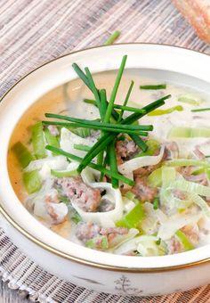 Einfaches Rezept für Hackfleisch-Käse-Lauch-Suppe ohne Tütchen