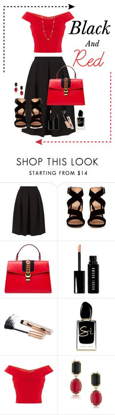 """Black and Red"" by gabgirl54321 ❤ liked on Polyvore featuring Monsoon, Gianvito Rossi, Gucci, Bobbi Brown Cosmetics, Giorgio Armani, Coast and 1st & Gorgeous by Carolee"