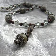 Sterling Silver Necklace with Labradorite by ZuzusPetalsCreations, $200.00