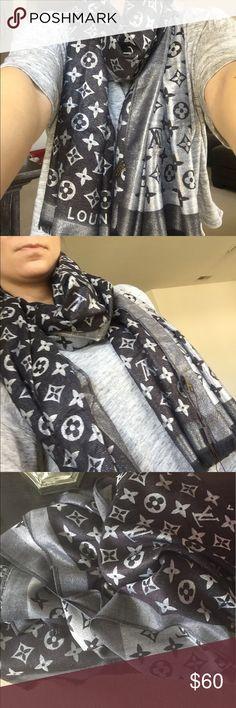 Louis Vuitton monogram shawl Louis Vuitton monogram shawl. 180cm x 70cm. Silver and black colors. Very soft material. Very good quality. Never worn. Louis Vuitton Accessories Scarves & Wraps
