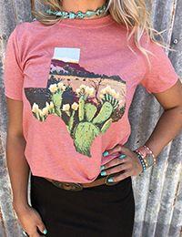 Fashion Women Pink T-Shirt Floral Cactus Texas Print T-Shirt Summer Short Sleeve Soft O-Neck T-Shirt Casual Floral Tops Tee Home T Shirts, Tee Shirts, Rosa T Shirt, Arrow T Shirt, Summer Tops, Printed Shirts, Casual Shirts, Floral Tops, T Shirts For Women