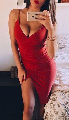 ➖ - Women's Fashion - Red Dress - Spaghetti Strap - Low V Cut - Side Slit  #dress
