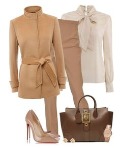 """""""Camel coat (OUTFIT ONLY!) - Contest!"""" by asia-12 ❤ liked on Polyvore featuring Hermès, Jaeger, Christian Louboutin, Gucci, Marc by Marc Jacobs, women's clothing, women, female, woman and misses"""