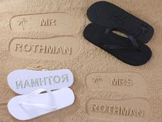 Make your special day or honeymoon that much more memorable with personalized sand imprint flip flops. Each pair can be imprinted with the name of your choice, great as a gift or for the whole bridal party. Please note this listing is just for one pair! If you would like to order
