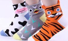 Choice !! New Animals Face Designed Socks [Cow Owl Tiger Leopard Frog Zebra ] BD INTYPE