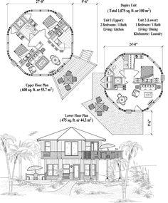 Online House Plan: Duplex Unit - Two-Story Collection House Plans 3 Bedroom, Duplex House Plans, Round House Plans, Small House Plans, Bed Plans, Floor Plans, Ideas De Cabina, House Design Drawing, Dome House
