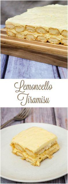 Lemoncello tiramisu adds a burst of bright flavor to the traditional layered Italian dessert. #SundaySupper TheRedheadBaker.com
