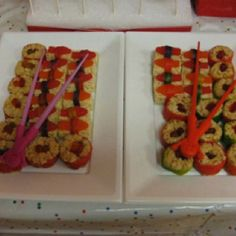 Candy sushi!  Made these for my girl's Nihao Kailan (Asian themed) birthday party!  http://fashionablymommy.blogspot.com/