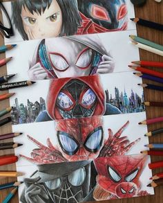 Spiderman into the spiderverse Spiderman Art, Amazing Spiderman, Spiderman Drawing, Marvel Fan, Marvel Dc Comics, Super Anime, Marvel Drawings, Spider Verse, Spider Gwen