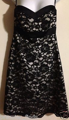 White House Black Market Black and White Lacy Sleeveless Dress   Size 8