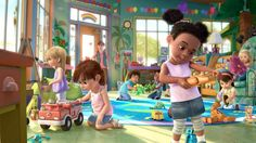 Toy Story 3. Sunnyside daycare is so cute. I want to decorate my future kids playroom/area like this.