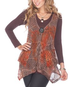 Take a look at this Rust Crocheted Tunic by Lily on #zulily today!
