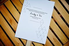 LETTUCE & CO - STYLE. EAT. PLAY 'viv + lachy - colourful modern art deco'. custom designed order of ceremony card on a paddle. concept, design and wedding styling by lettuce & co