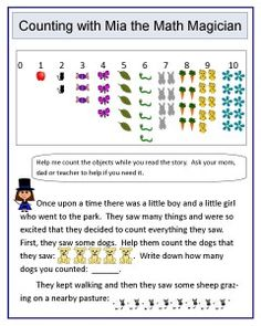 Free worksheets to teach counting.