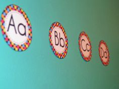 Cute polka dot themed classroom labels. Includes world wall letters! $