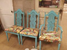 We painted and distressed a set of 6 dining chairs using American Paint Company paint. The color is called Shoreline. American Paint Company, Paint Companies, Chalk Paint, Dining Chairs, Painting, Color, Furniture, Home Decor, Decoration Home
