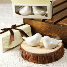 """Practical Favors - $1.99 - """"Love Birds In The Window"""" Ceramic Salt & Pepper Shakers With Ribbons (Set of 2) (051005521) http://jjshouse.com/Love-Birds-In-The-Window-Ceramic-Salt-Pepper-Shakers-With-Ribbons-Set-Of-2-051005521-g5521"""