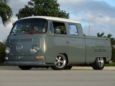 Extremely hard to find VW Bay window double cab. Looks to have drop spindle front axle and modified rear drive axles which are cantilevered giving me a hint that there may be a 2100cc modified  duel Delorto or Mukini carburetor system. Just guessing...