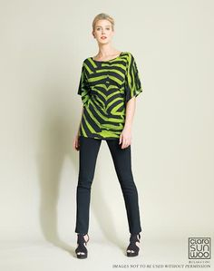 dc6721d937381d Flutter sleeve Zebra print knit top with fitted bottom. Morgan s of  Delaware · CLARA SUNWOO SPRING 2015