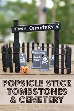 How to make these miniature popsicle stick tombstones and cemetery for a fun Halloween tablescape or fairy village addition MichaelsMakers Lil Blue Boo