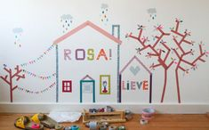 This was done using different colors of masking tape! Kinda cute and won't mess up the walls! :)