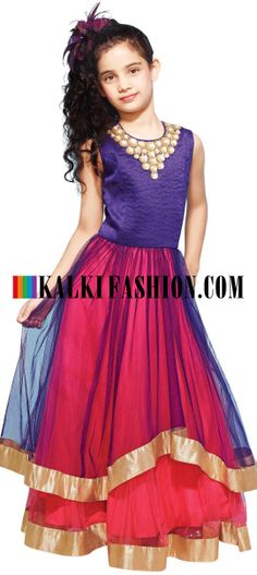 Buy Online from the link below. We ship worldwide (Free Shipping over US$100) http://www.kalkifashion.com/indo-western-gown-in-blue-embellished-in-sequence-and-thread.html