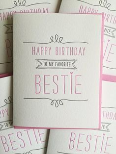 Birthday card for Best Friend Card – Best Friend Birthday Card – Letterpress Birthday Card for BFF, Bestie, Girlfriend, DeLuce Design - Diy Birthday Cards Best Friend Birthday Cards, Unique Birthday Cards, Best Friend Cards, Bff Birthday, Girlfriend Birthday, Handmade Birthday Cards, Happy Birthday Cards, Best Friend Gifts, Gifts For Friends