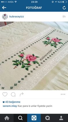 This Pin was discovered by Gül Cross Stitch Rose, Cross Stitch Borders, Cross Stitch Flowers, Cross Stitch Designs, Cross Stitching, Cross Stitch Embroidery, Hand Embroidery, Cross Stitch Patterns, Embroidery Stitches Tutorial