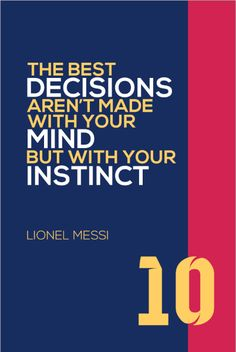 Lionel Messi #10 FC Barcelona Inspirational Instinct Quote Poster Print | Soccer Memorabilia | Wall Art for Soccer Fans