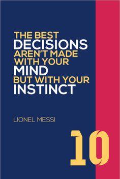 Lionel Messi #10 FC Barcelona Inspirational Instinct Quote Poster Print | Soccer Memorabilia | Wall Art for Soccer Fans