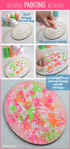 Use a toothpick to mix paint with glue or decoupage to make these fun, swirly designs. toothpick painting crafts for kids diy craft crafts Projects For Kids, Diy For Kids, Decoupage Ideas For Kids, Painting Ideas For Kids, Easy Crafts For Kids, Camping Crafts, Preschool Art, Preschool Learning, Summer Crafts
