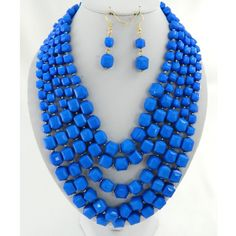 "Royal blue 24"" layered beads necklace set"