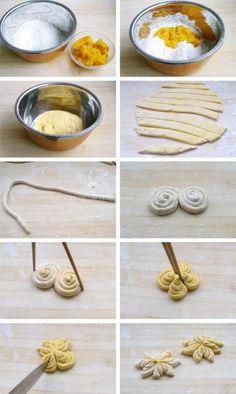 Comment confectionner des brioches ou gâteaux en forme d'étoiles, fleurs.