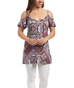 Look what I found on #zulily! Fuchsia & Blue Geometric Off-Shoulder Tunic by Cuky #zulilyfinds