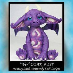 Art Doll Polymer Clay Fantasy Purple Dragon by KabiDesigns on Etsy, $65.00