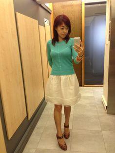 turquoise blue top, white sheer skirt