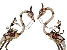 Jessica Joslin transforms unexpected found objects such as bullet casings, old brass buttons, musical instrument parts, bones, and other nostalgic ephemera into skeletal animal figurines ranging in size from one inch to six feet...