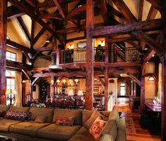 The Great Room, with beautiful wood beams.