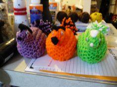 knitted chickens. Plastic egg inside.
