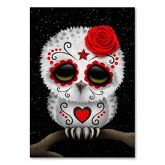 Cute Red Day of the Dead Sugar Skull Owl Stars Table Card