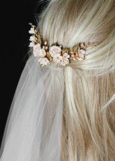 NECTAR blush and gold wedding headpiece 16