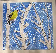 Under två gånger 80 min har vi arbetat med vintern på bilden i åk 3. Här kommer underbara bilder på deras vinterträd. Eleverna har fått välja en fågel från bilder jag skrivit ut i från Rebecca s mi...