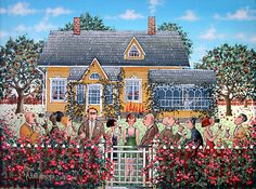 garden party acrylic paintings   The Garden Party by Aimo Katajainen