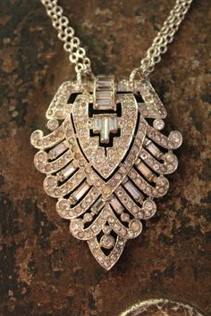 Vintage Rhinestone Brooch Necklace by BelleVia on Etsy, $62.00