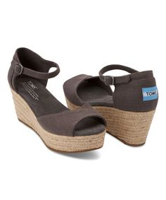 Look at this TOMS Ash Linen Platform Wedge on #zulily today!