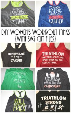 DIY Women's Workout Tanks with SVG Cut Files These DIY workout tanks are so much fun! Perfect for anyone who loves to work out and go to gym! Each workout tank idea has a SVG cut file to go with it! Diy Tank, Diy Shirt, Workout Humor, Workout Tanks, Running Tank Tops, Cut Shirts, Cutting Shirts, Diy Fashion, Fashion Edgy