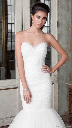 Justin Alexander Signature Spring 2016 Wedding Dresses | Wedding Inspirasi | Exquisite, Embroidered Lace Strapless Mermaid Silhouette Wedding Gown With Sweetheart Neckline, Silk Tulle Skirt, & Pretty Lace Trim Along The Hemline, Chapel Length Train~~~~